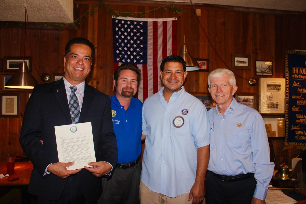 New Rotarian Scott De La Torre, President Elect and PR Chair Michael R. Burke, current Club President Steve Schick and District 5330 Govenor, Rudy Westervelt
